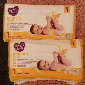 Parents choice size one diapers never opened.